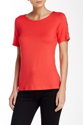 Cable And Gauge Button Shoulder Crew Neck Tee Pink