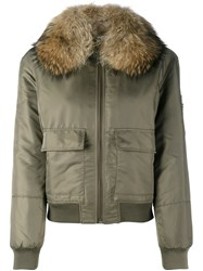 Yves Salomon Fur Lined Bomber Green