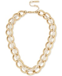 Kenneth Cole Two Tone Crystal Braided Chain Necklace Two Tone