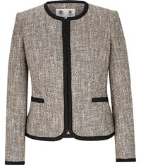 Austin Reed Stone And Black Collarless Tweed Jacket Multi Coloured