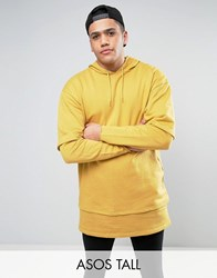 Asos Tall Oversized Super Longline Double Layer Hoodie Yellow
