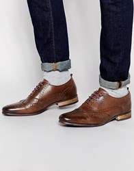 Asos Brogue Shoes In Brown Leather With Coloured Tread