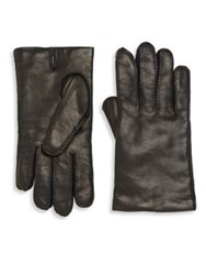 Hickey Freeman Stitched Leather Gloves Bordeaux Black Brown
