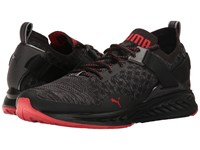 Puma Ignite Evoknit Lo Pavement Black Asphalt High Risk Red Men's Running Shoes
