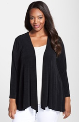 Vikki Vi Open Front Swing Cardigan Plus Size Black