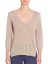 Peserico Knit Silk Hem Top Beige