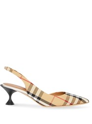 Burberry Vintage Check Slingback Pumps Neutrals