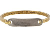 Giles And Brother Id Tag With Hinge Cuff Bracelet No Color