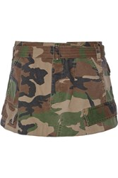 Marc Jacobs Camouflage Print Cotton Twill Mini Skirt Army Green