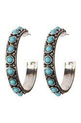 Spring Street Turquoise Stone Hoop Earrings Blue