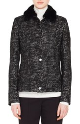 Akris Punto Tweed Jacket With Detachable Faux Fur Collar Black Cream