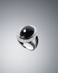 David Yurman Dy Signature Oval Ring With Black Onyx And Diamonds