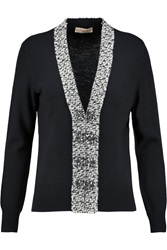 Tory Burch Gwyneth Tweed Trimmed Wool Cardigan