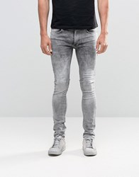 Religion Skinny Fit Hero Jeans In Grey Veins Grey Veins