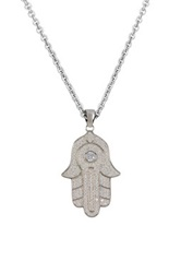 Luna Tagliare Sterling Silver Micropave Cz Hamsa Pendant Necklace Metallic