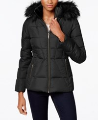 Calvin Klein Faux Fur Lined Quilted Puffer Coat Shadow