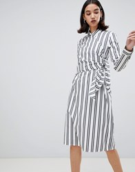 Selected Evelyn Tie Waist Stripe Shirt Dress Optical Snow Black White