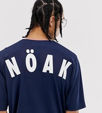Noak Oversized T Shirt In Airtex With Branded Back Print Navy