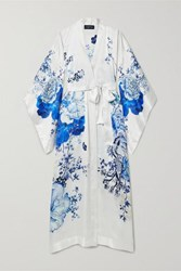 Meng Floral Print Silk Satin Robe Blue