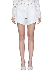 Self Portrait Lace Up Flared Canvas Shorts White