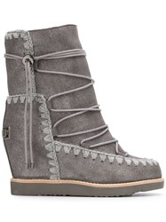 Mou Lace Up Snow Boots Grey