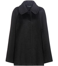 Dolce And Gabbana Virgin Wool Cashmere Cape Black