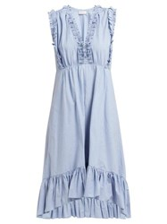Masscob Sabinal Ruffled Cotton Midi Dress Light Blue