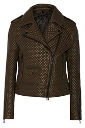 Belstaff Quilted Leather Jacket Brown