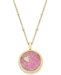 Kate Spade New York Gold Tone Heart Of Gold Pink Glitter Pendant Necklace