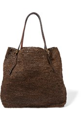 Michael Kors Collection Rogers Woven Raffia Tote Dark Brown