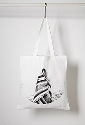 Forever 21 Langley Fox Beach Graphic Tote Black White