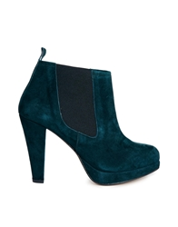Ganni Fiona Suede Heeled Shoe Boot Darkestspruce