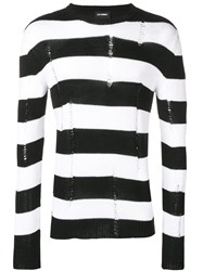 Les Hommes Knitted Striped Sweater Black