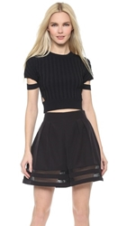 Jonathan Simkhai Crop Cutout Knit Tee Black