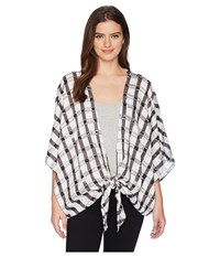 Collection Xiix Watercolor Gingham Kimono Black Clothing