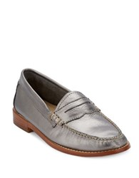 G.H. Bass Whitney Leather Penny Loafers Silver