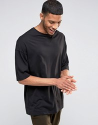 Asos Oversized Longline T Shirt With Half Sleeve In Black Black