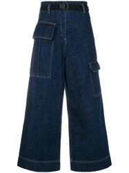 Kenzo Cropped Wide Legged Jeans Blue