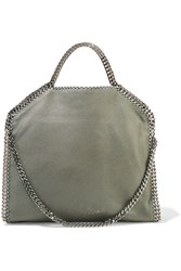 Stella Mccartney The Falabella Medium Faux Brushed Leather Shoulder Bag Gray Green