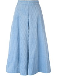 Manoush Corduroy Cropped Palazzo Pants Blue