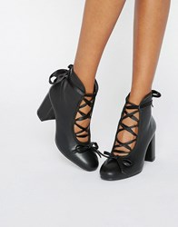 Daisy Street Black Ballet Mid Heeled Ankle Boots Black Pu