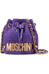 Moschino Embossed Leather Shoulder Bag Purple