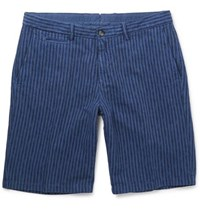 Altea Slim Fit Over Dyed Striped Linen And Cotton Blend Shorts Blue