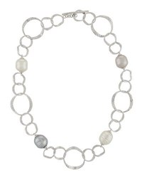 Majorica Hammered Oval Link Baroque Pearl Necklace Multi