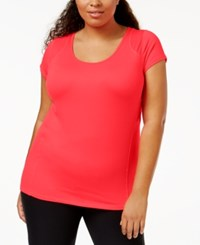 Jessica Simpson The Warm Up Plus Size Short Sleeve Compression Tee Aphrodite Pink
