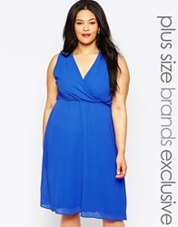 Truly You Wrap Front Midi Dress Blue