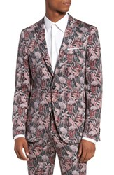 Topman Ultra Skinny Fit Hibiscus Print Suit Jacket Pink Multi