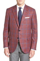 Peter Millar Classic Fit Windowpane Wool Blend Sport Coat Red