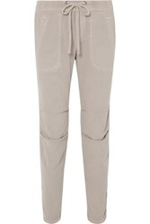 James Perse Cotton Blend Twill Track Pants Beige