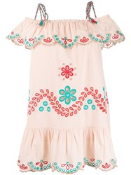 Red Valentino Redvalentino Broderie Anglaise Cold Shoulder Dress Neutrals